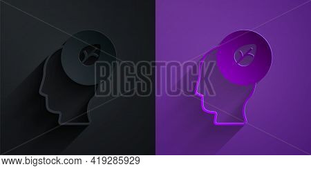 Paper Cut Human Head With Leaf Inside Icon Isolated Paper Cut Background. Paper Art Style. Vector
