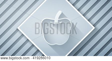 Paper Cut Apple Icon Isolated Paper Cut Background. Excess Weight. Healthy Diet Menu. Fitness Diet A