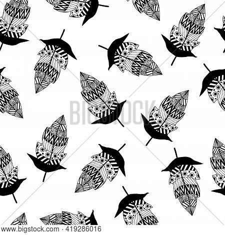 Seamless Vector Pattern With Bird Feathers. Graceful Feathers With Ornaments On A White Background.
