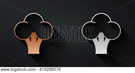 Gold And Silver Broccoli Icon Isolated Gold And Silver Background. Long Shadow Style. Vector