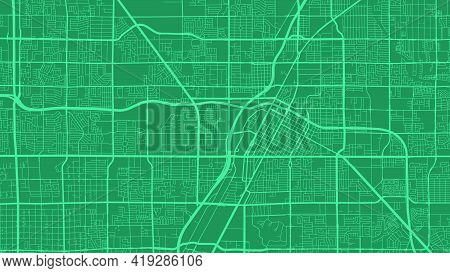 Teal And Green Las Vegas City Area Vector Background Map, Streets And Water Cartography Illustration