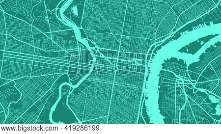Cyan Philadelphia City Area Vector Background Map, Streets And Water Cartography Illustration. Wides