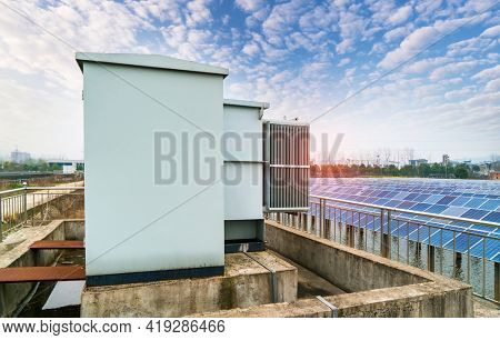 Solar power station with solar collector inverter on water,Ecological energy renewable solar panel plant electric power.