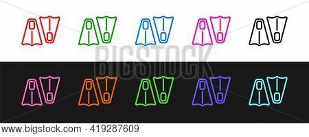 Set Line Rubber Flippers For Swimming Icon Isolated On Black And White Background. Diving Equipment.
