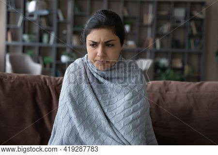 Close Up Sick Indian Woman Covered With Blanket Feeling Unhealthy