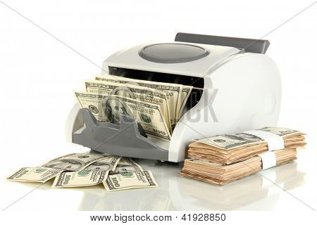 Machine for counting money and 100 dollar bills isolated on white