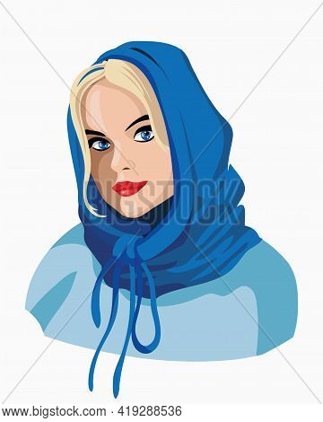 Beautiful Blonde Girl In A Blue Scarf.a Very Nice Girl Brooding And Smiling. Blue Shawl. Emotion Wom