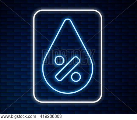 Glowing Neon Line Water Drop Percentage Icon Isolated On Brick Wall Background. Humidity Analysis. V