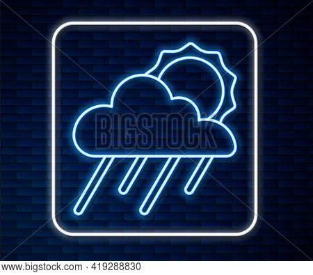 Glowing Neon Line Cloud With Rain And Sun Icon Isolated On Brick Wall Background. Rain Cloud Precipi