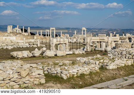 Street Exposition Of Column Elements Among Remains Of Some Building In Antique City Laodicea, Denizl