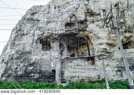 Outer Wall Of Cave Monastery Of St Sophia In Inkerman, Crimea. It Was Founded Circa Xiii And Abandon