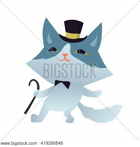 Tap Dancing Cat Chatacter With A Bowtie And Cylinder Hat