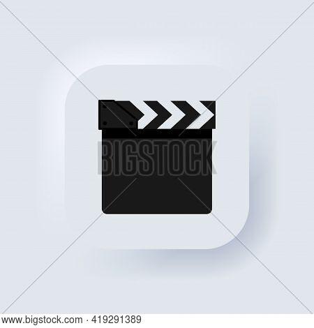 Movie Clapperboard Or Film Clapper Icon. Cinema Device, Video Film Clapper Equipment. Neumorphic Ui