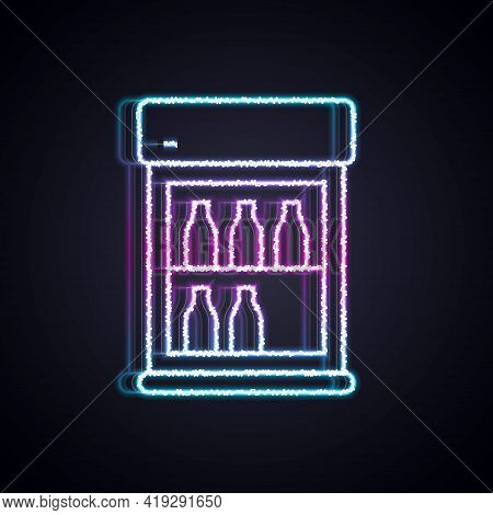 Glowing Neon Line Commercial Refrigerator To Store Drinks Icon Isolated On Black Background. Perisha