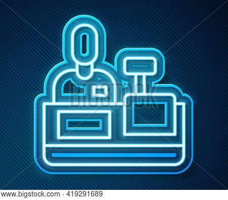 Glowing Neon Line Cashier At Cash Register Supermarket Icon Isolated On Blue Background. Shop Assist