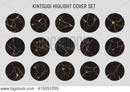 Kintsugi Highlight Cover Set. Japanese Art Of Repairing Broken Pottery. Hand Drawn Golden Crack Elem