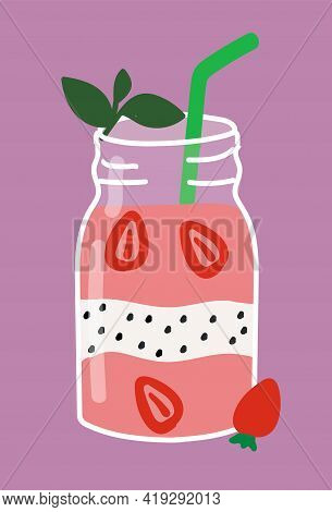 Cocktail Drink With Strawberry, Dragonfruit And Mint Leaves