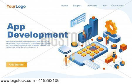 App Development Isometric Landing Page Template. Creation Of Mobile Application 3d Concept. Develope
