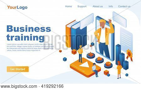 Business Training Isometric Landing Page Template. Professional Training And Skills Improvement 3d C