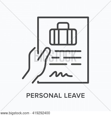 Personal Leave Flat Line Icon. Vector Outline Illustration Of Paper Blank In Hand . Black Thin Linea