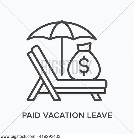 Paid Vacation Flat Line Icon. Vector Outline Illustration Of Money Bag, Umbrella And Sun Lounger. Bl