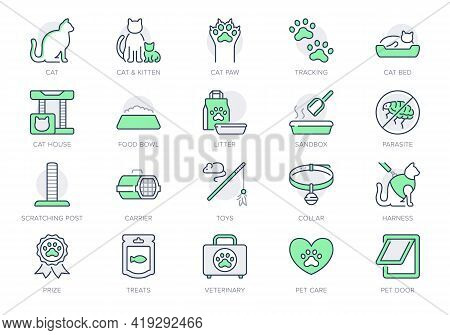 Cat Stuff Line Icons. Vector Illustration Include Icon - Litter Box, Carrier, Scratching Post, Bed,