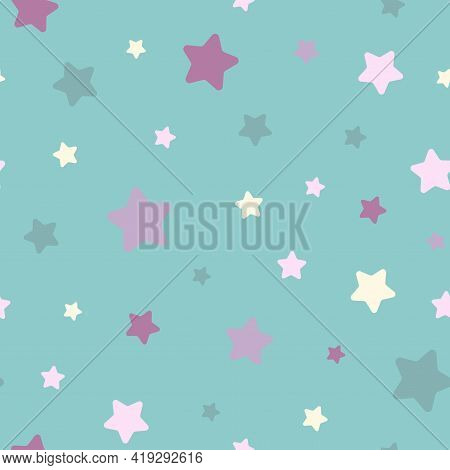 Seamless Abstract Pattern With Soft Rounded Stars Of Different Colors And Size. Light Blue Backgroun