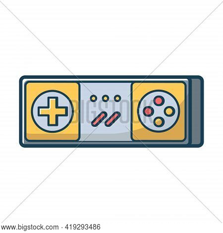 Yellow Game Joystick Icon. Joypad For Console, Pc And Video Games. Vector Illustration In Flat Line