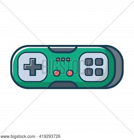 Green Game Joystick Icon. Joypad For Console, Pc And Video Games. Vector Illustration In Flat Line S