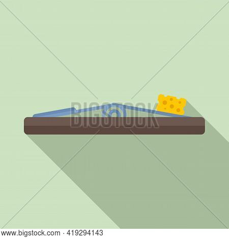 Cheese Mouse Trap Icon. Flat Illustration Of Cheese Mouse Trap Vector Icon For Web Design