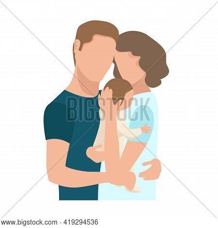Vector Illustration Of A Family Couple Tenderly And Caringly Hugging Their Newborn Baby On A White B
