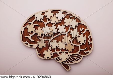 Brain With Wooden Puzzles. Mental Health And Problems With Memory. Top View