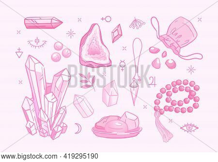 Set Of Isolated Stickers About Lithotherapy In Sugar Pink Palette