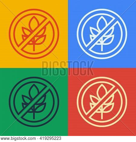 Pop Art Line Gluten Free Grain Icon Isolated Pop Art Line Background. No Wheat Sign. Food Intoleranc