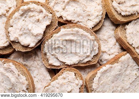 Many Sandwiches With Lard Spread As Background, Top View