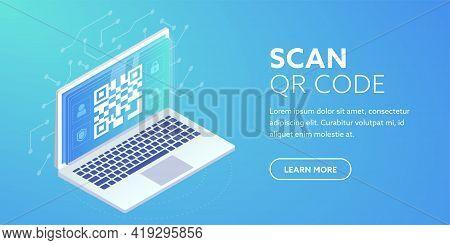 Qr Link On Website Horizontal Banner. Qr Code On Laptop Screen. 3d Web Barcode Concept, Online Qr Pa