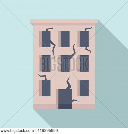 Destroyed Building Icon. Flat Illustration Of Destroyed Building Vector Icon For Web Design