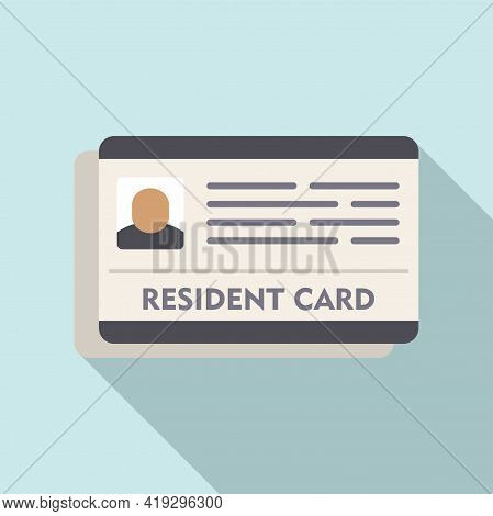 Resident Card Icon. Flat Illustration Of Resident Card Vector Icon For Web Design