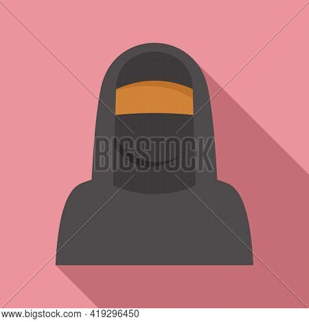 Immigrant Muslim Woman Icon. Flat Illustration Of Immigrant Muslim Woman Vector Icon For Web Design