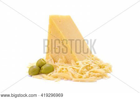 Hard Yellow Gouda Cheese And Grated Cheese With Green Olives Close-up, Isolated On A White Backgroun