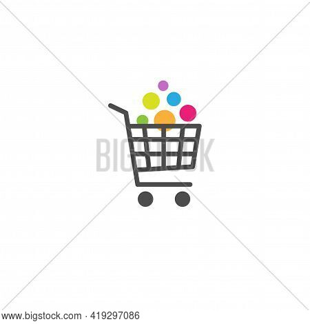 Shopping Cart With Goods Button. Bright Purchase. Simple Icon Isolated On White Background. Store Tr