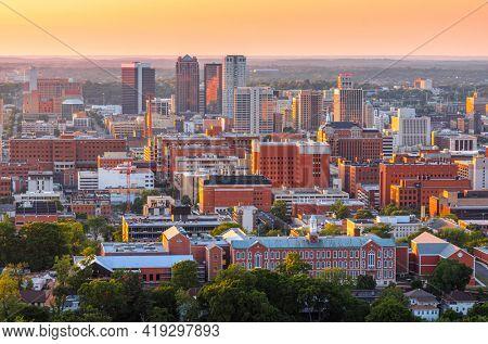 Birmingham, Alabama, USA downtown city skyline at dusk.