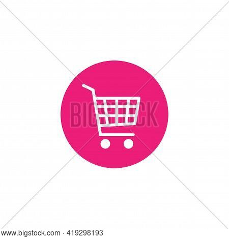 White Shopping Cart In Pink Magenta Circle. Simple Icon Isolated On White Background. Store Trolley