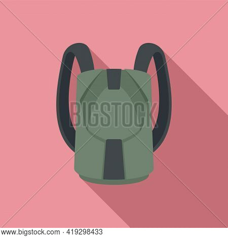 Parachuting Backpack Icon. Flat Illustration Of Parachuting Backpack Vector Icon For Web Design