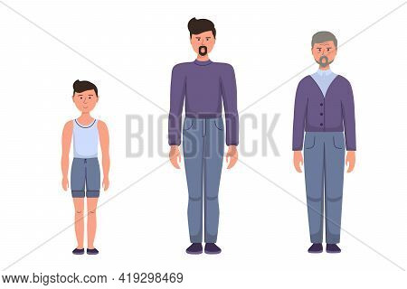 Three Stages Of Life, A Man At Different Ages. Little Boy, Adult Man, Old Man Elderly Pensioner. Vec