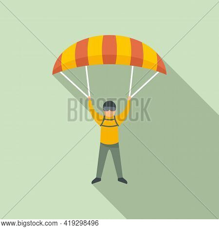 Paratrooper Icon. Flat Illustration Of Paratrooper Vector Icon For Web Design