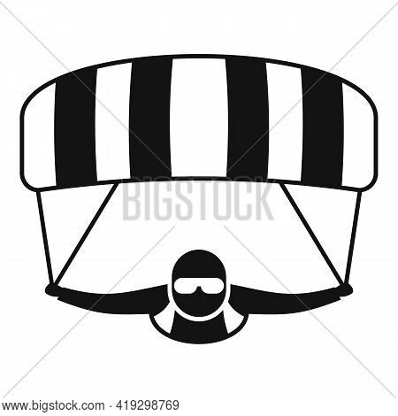 Parachuting Man Icon. Simple Illustration Of Parachuting Man Vector Icon For Web Design Isolated On
