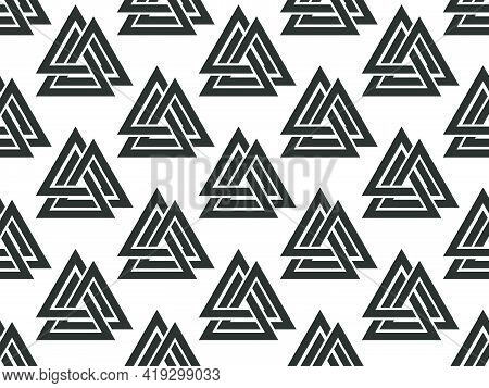 Valknut Seamless Pattern. Nordic Symbol, An Interweaving Of Three Worlds. Sign Of God Odin. Norse Cu