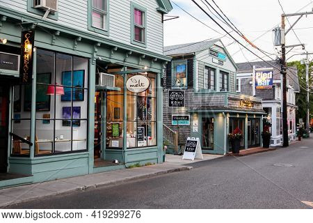 PROVINCETOWN, MASSACHUSETTS, USA - SEPTEMBER 14, 2014:  Commercial street with storefronts