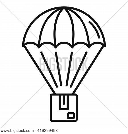 Parachuting Parcel Icon. Outline Parachuting Parcel Vector Icon For Web Design Isolated On White Bac
